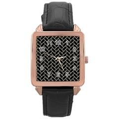 Brick2 Black Marble & Beige Linen Rose Gold Leather Watch  by trendistuff