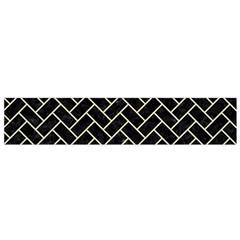 Brick2 Black Marble & Beige Linen Flano Scarf (small) by trendistuff