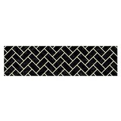 Brick2 Black Marble & Beige Linen Satin Scarf (oblong) by trendistuff