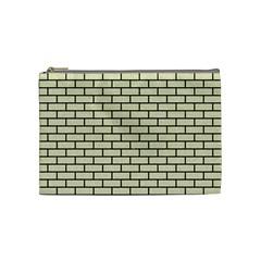 Brick1 Black Marble & Beige Linen (r) Cosmetic Bag (medium)  by trendistuff