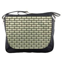 Brick1 Black Marble & Beige Linen (r) Messenger Bags by trendistuff
