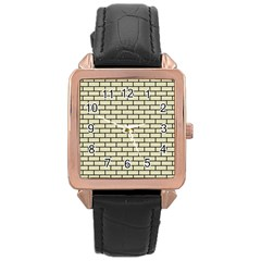 Brick1 Black Marble & Beige Linen (r) Rose Gold Leather Watch  by trendistuff