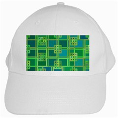 Green Abstract Geometric White Cap by BangZart