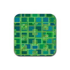 Green Abstract Geometric Rubber Square Coaster (4 Pack)  by BangZart