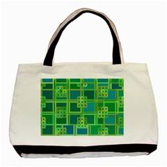 Green Abstract Geometric Basic Tote Bag by BangZart