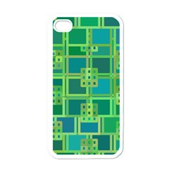 Green Abstract Geometric Apple Iphone 4 Case (white) by BangZart