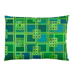 Green Abstract Geometric Pillow Case (two Sides) by BangZart