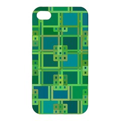 Green Abstract Geometric Apple Iphone 4/4s Hardshell Case by BangZart