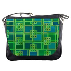 Green Abstract Geometric Messenger Bags by BangZart
