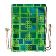 Green Abstract Geometric Drawstring Bag (large) by BangZart