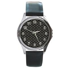 Brick1 Black Marble & Beige Linen Round Metal Watch by trendistuff