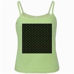 Brick1 Black Marble & Beige Linen Green Spaghetti Tank by trendistuff