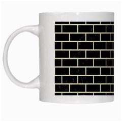 Brick1 Black Marble & Beige Linen White Mugs by trendistuff