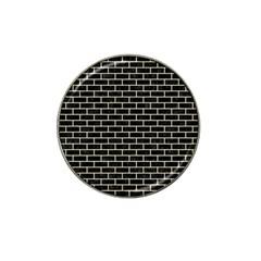 Brick1 Black Marble & Beige Linen Hat Clip Ball Marker by trendistuff