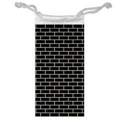 Brick1 Black Marble & Beige Linen Jewelry Bag by trendistuff