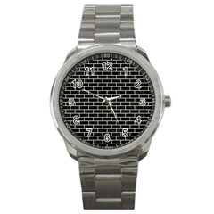 Brick1 Black Marble & Beige Linen Sport Metal Watch by trendistuff
