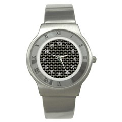 Brick1 Black Marble & Beige Linen Stainless Steel Watch by trendistuff