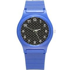 Brick1 Black Marble & Beige Linen Round Plastic Sport Watch (s) by trendistuff