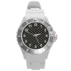 Brick1 Black Marble & Beige Linen Round Plastic Sport Watch (l) by trendistuff