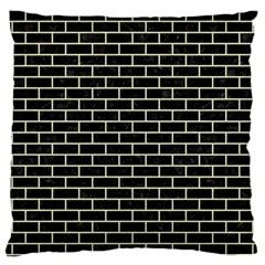 Brick1 Black Marble & Beige Linen Large Cushion Case (one Side) by trendistuff