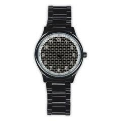 Brick1 Black Marble & Beige Linen Stainless Steel Round Watch by trendistuff