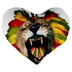 Reggae Lion Large 19  Premium Heart Shape Cushions