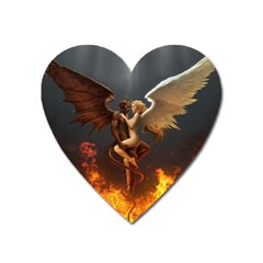 Angels Wings Curious Hell Heaven Heart Magnet by BangZart