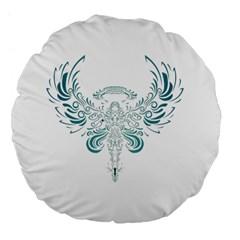 Angel Tribal Art Large 18  Premium Flano Round Cushions by BangZart
