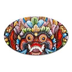 Wood Sculpture Bali Logo Oval Magnet by BangZart