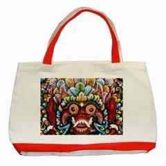 Wood Sculpture Bali Logo Classic Tote Bag (red) by BangZart
