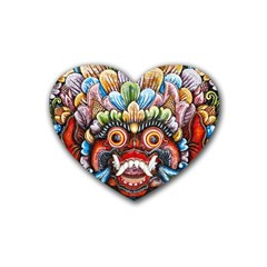 Wood Sculpture Bali Logo Rubber Coaster (heart)  by BangZart