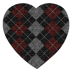 Wool Texture With Great Pattern Jigsaw Puzzle (heart) by BangZart