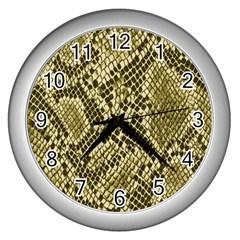 Yellow Snake Skin Pattern Wall Clocks (silver)  by BangZart
