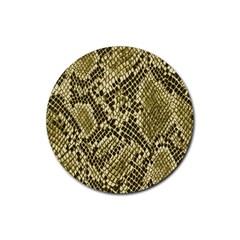 Yellow Snake Skin Pattern Rubber Round Coaster (4 Pack)  by BangZart