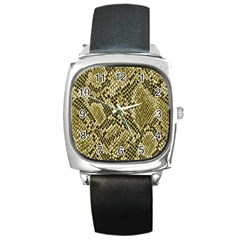 Yellow Snake Skin Pattern Square Metal Watch by BangZart