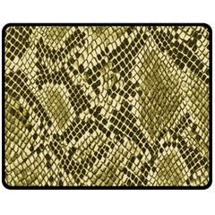 Yellow Snake Skin Pattern Fleece Blanket (medium)  by BangZart