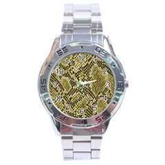 Yellow Snake Skin Pattern Stainless Steel Analogue Watch by BangZart