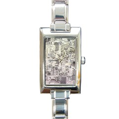 White Technology Circuit Board Electronic Computer Rectangle Italian Charm Watch by BangZart