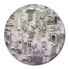 White Technology Circuit Board Electronic Computer Round Mousepads by BangZart