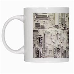 White Technology Circuit Board Electronic Computer White Mugs by BangZart