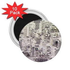 White Technology Circuit Board Electronic Computer 2 25  Magnets (10 Pack)  by BangZart
