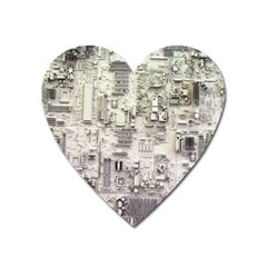 White Technology Circuit Board Electronic Computer Heart Magnet by BangZart