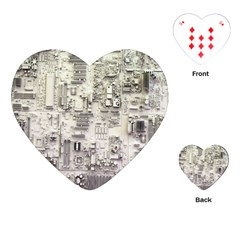 White Technology Circuit Board Electronic Computer Playing Cards (heart)  by BangZart