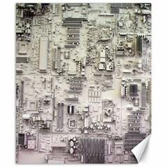 White Technology Circuit Board Electronic Computer Canvas 8  X 10  by BangZart