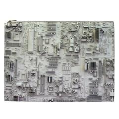 White Technology Circuit Board Electronic Computer Cosmetic Bag (xxl)  by BangZart