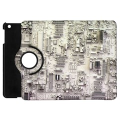White Technology Circuit Board Electronic Computer Apple Ipad Mini Flip 360 Case by BangZart