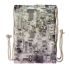 White Technology Circuit Board Electronic Computer Drawstring Bag (large) by BangZart