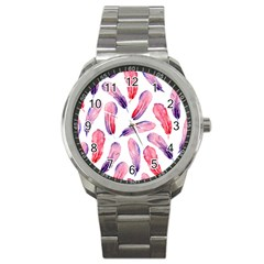 Watercolor Pattern With Feathers Sport Metal Watch by BangZart
