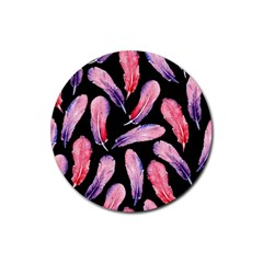 Watercolor Pattern With Feathers Rubber Round Coaster (4 Pack)  by BangZart