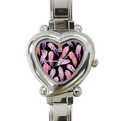 Watercolor Pattern With Feathers Heart Italian Charm Watch by BangZart